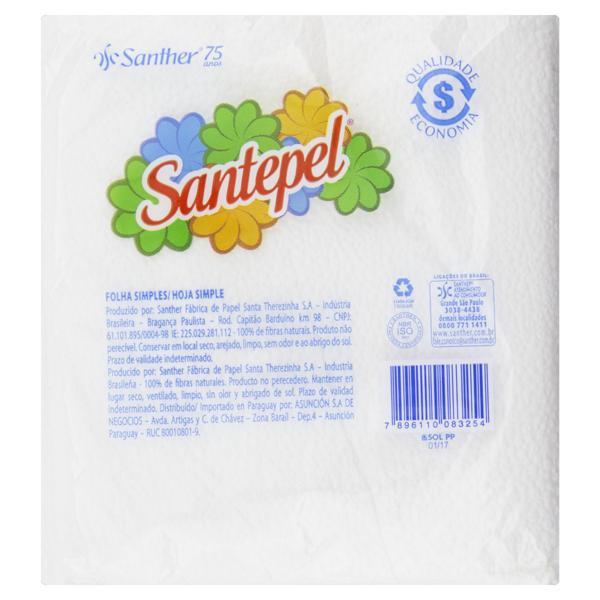 Guardanapo de Papel Folha Simples Santepel 24cm x 22cm Pacote 50 Unidades