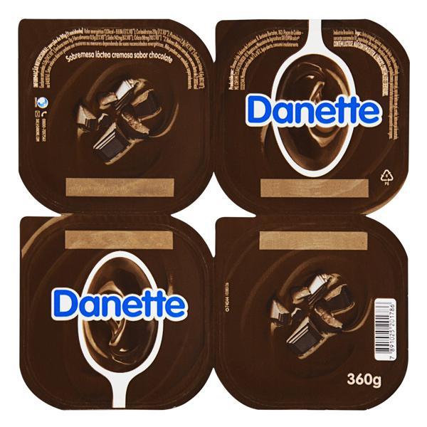 Sobremesa Láctea Chocolate Danette Bandeja 360g 4 Unidades