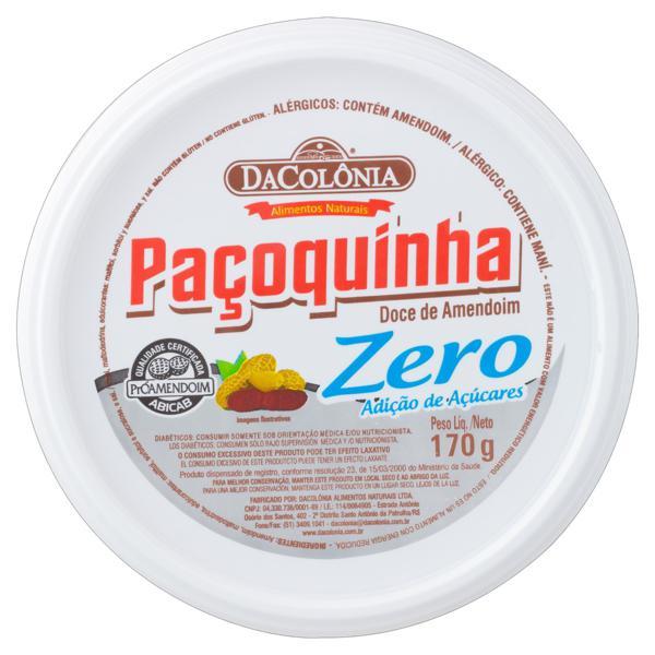 Paçoquinha DaColônia Zero Açúcar Pote 170g