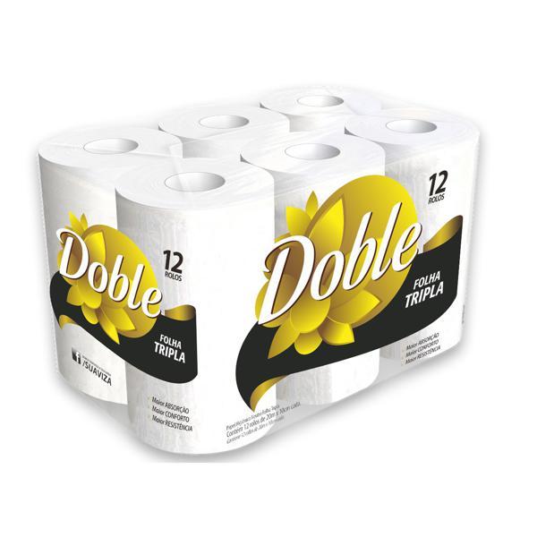 Papel Higienico Doble Folha Tripla 20Mx10Cm 12X1 Pacote