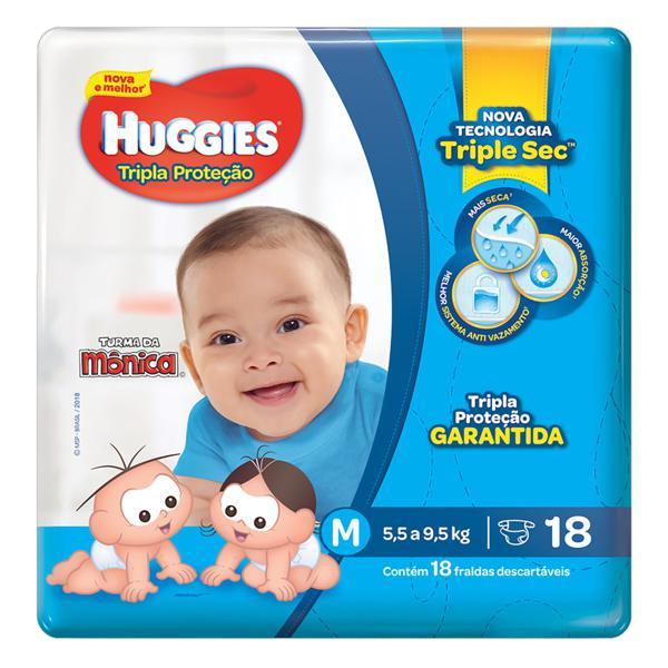 Fralda Descartável Infantil Huggies Tripla Proteção M Pacote 18 Unidades