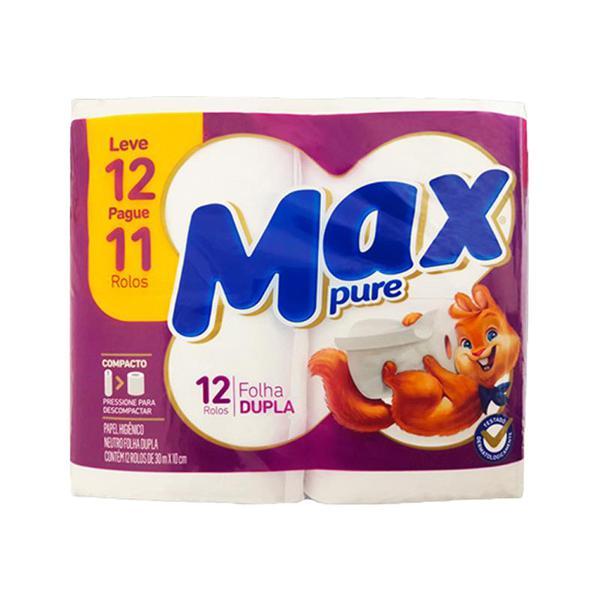 Papel Higiênico MAX PURE Folha Dupla 30mX10cm Com 12 Unidades
