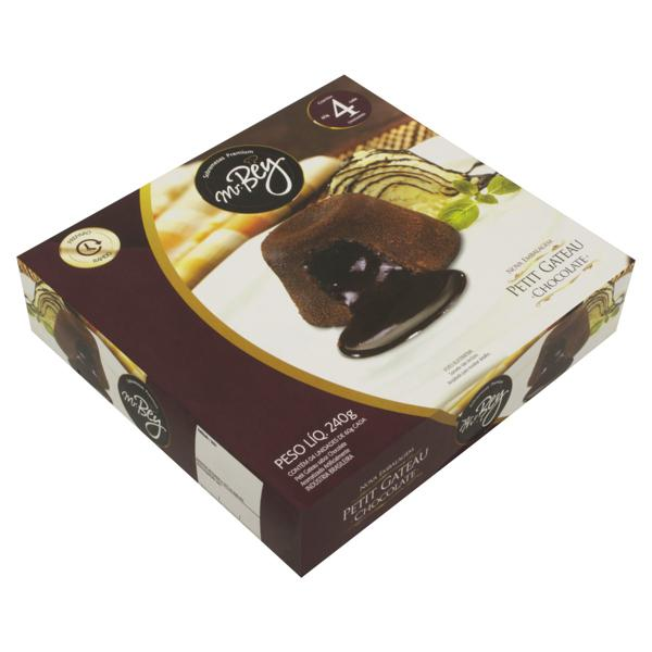 Petit Gâteau Congelado Chocolate Mr. Bey Caixa 240g 4 Unidades