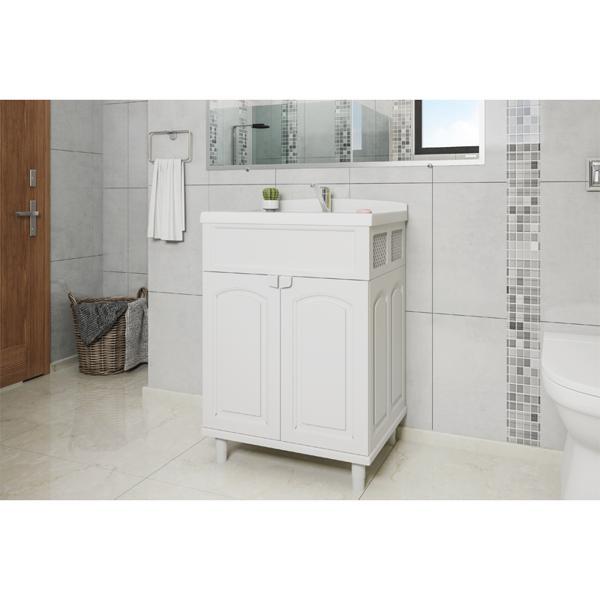 À vista 10% desc (boleto) - Gabinete para Banheiro c/ Sifão, Rabicho e Válvula Branco (GAB2)