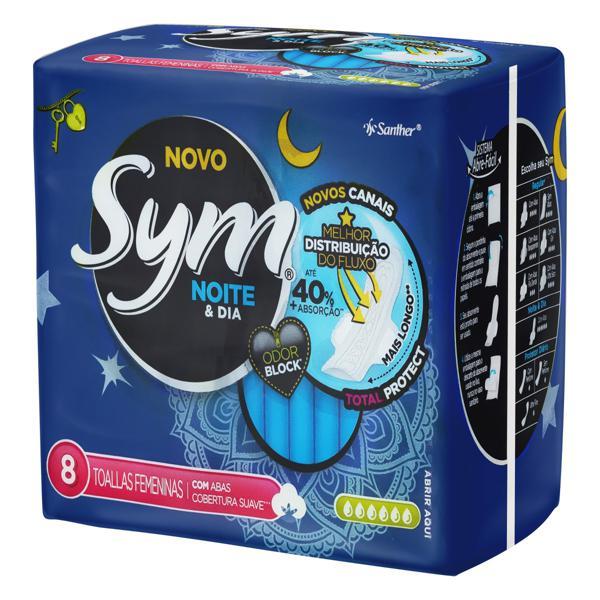 Absorvente com Abas Noite e Dia Total Protect Sym Pacote 8 Unidades