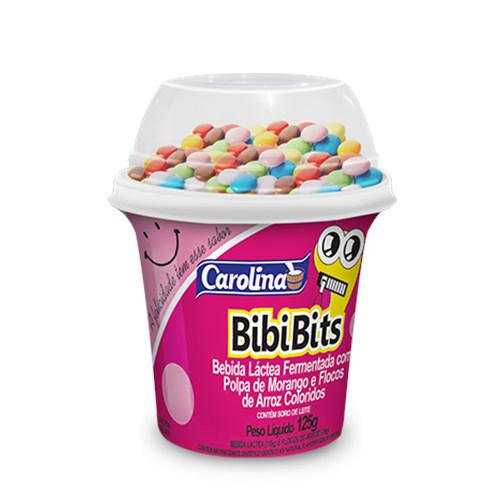 Iogurte CAROLINA Bibi Bits com Flocos Rosa 125g