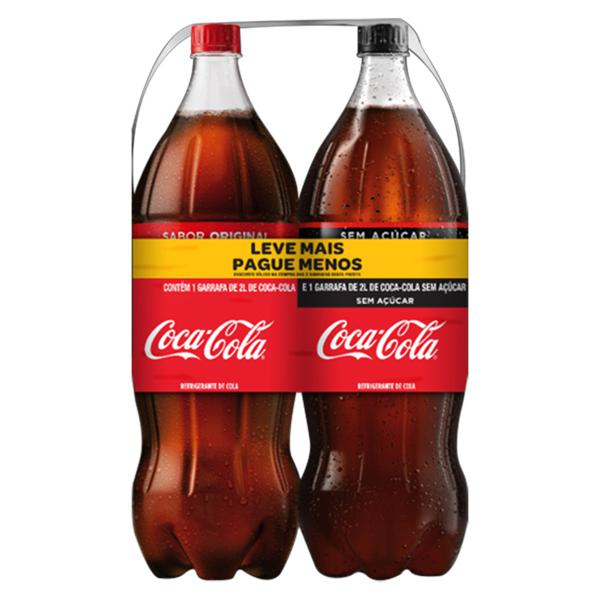 Kit Refrigerante Coca-Cola + Refrigerante Coca-Cola sem Açúcar 2l Cada Leve Mais Pague Menos