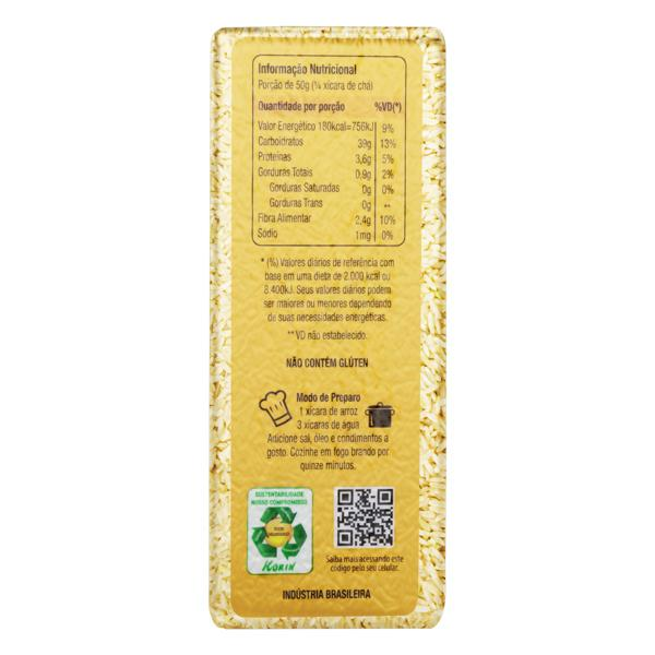 Arroz Agulhinha Tipo 1 Integral Orgânico Korin Pacote 1kg