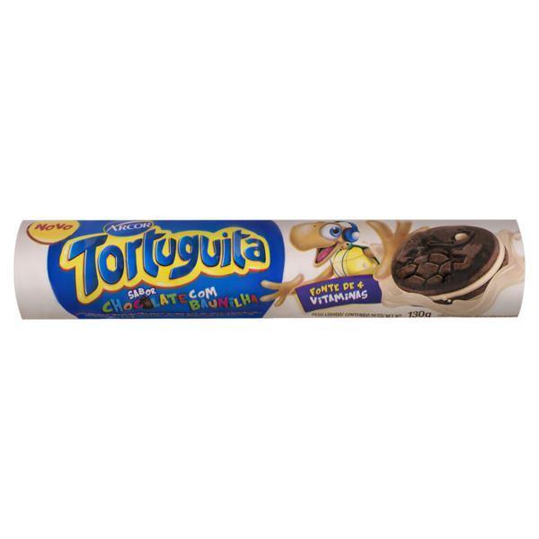Biscoito Chocolate Recheio Baunilha Arcor Tortuguita Pacote 130g