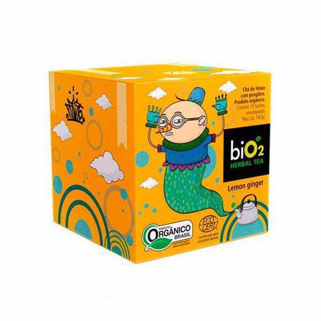 Chá Herbal Limão e Gengibre Orgânico 13 Sachês - biO2