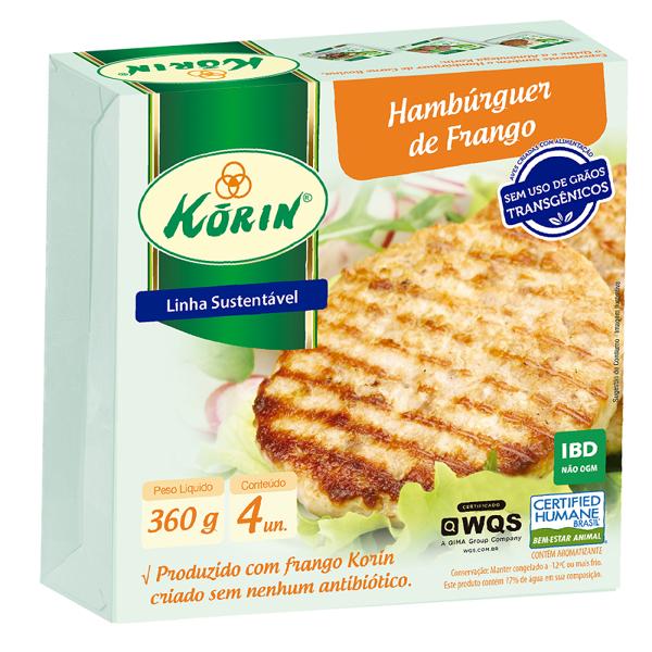 Hambúrguer De Frango KORIN Sem Transgênico Congelado 360g