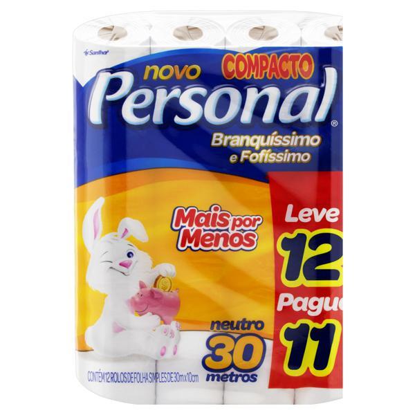 Papel Higiênico Folha Simples Neutro Personal 30m Pacote Leve 12 Pague 11 Unidades