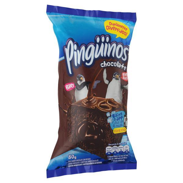 Bolo Chocolate Recheio Chocolate Pingüinos Pacote 80g