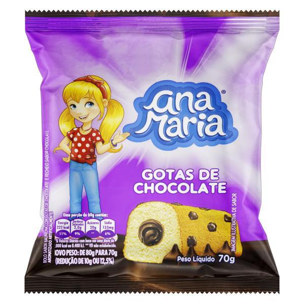 Bolo Baunilha com Gotas de Chocolate Recheio Chocolate Ana Maria Pacote 70g