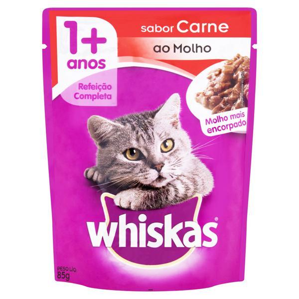 Alimento para Gatos Adultos 1+ Carne ao Molho Encorpado Whiskas Sachê 85g