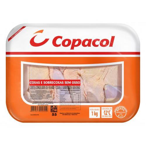 Coxa e Sobrecoxa sem Osso e sem Pele COPACOL Congelado Bandeja 1Kg