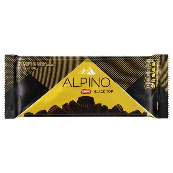 Chocolate ao Leite e Meio Amargo Nestlé Alpino Black Top Pacote 100g