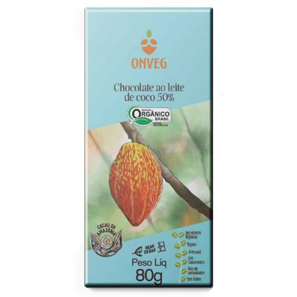 Chocolate 50% Ao Leite de Coco Orgânico 80g - Onveg