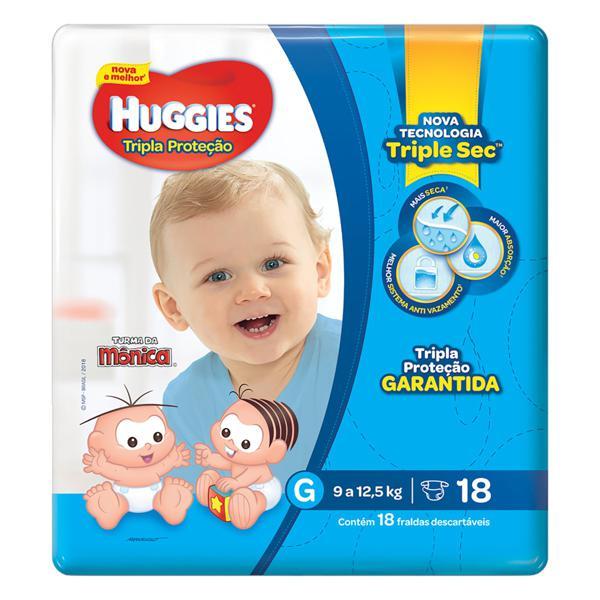Fralda Descartável Infantil Huggies Tripla Proteção G Pacote 18 Unidades