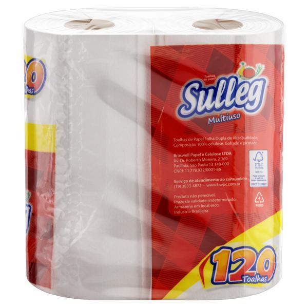 Toalha de Papel Folha Dupla Multiuso Sulleg 19cm x 21cm Pacote 2 Unidades