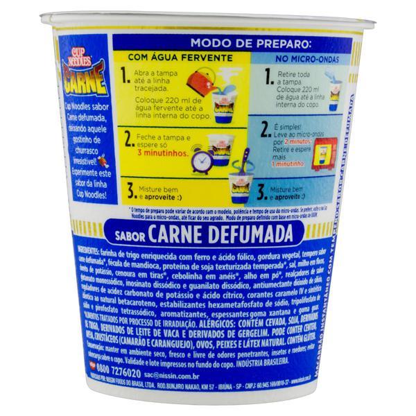 Macarrão Instantâneo Carne Defumada Nissin Cup Noodles Copo 69g