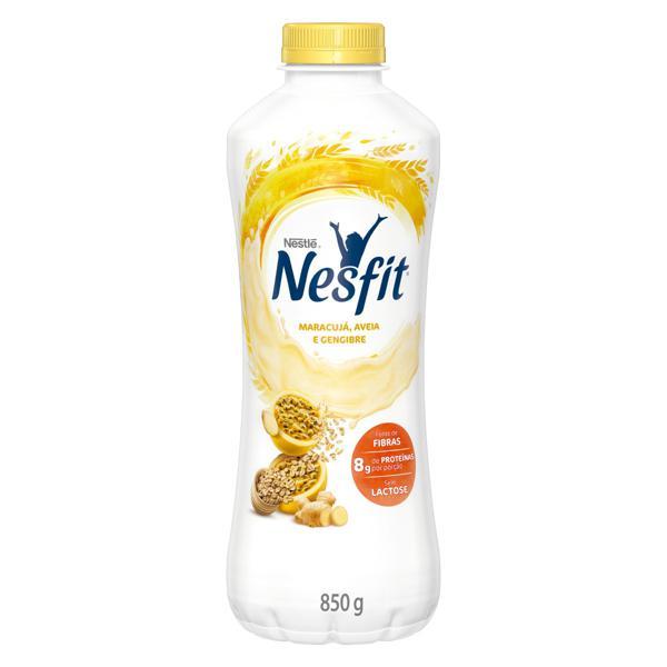 Iogurte Desnatado Maracujá, Aveia e Gengibre Zero Lactose Nestlé Nesfit Garrafa 850g