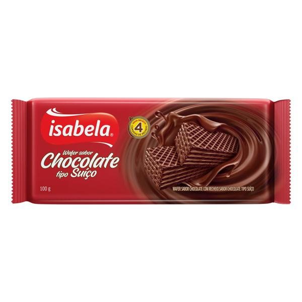 Biscoito Wafer Chocolate Recheio Chocolate Suíço Isabela Pacote 100g