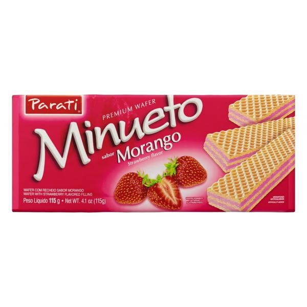 Biscoito Wafer Recheio Morango Minueto Premium Pacote 115g