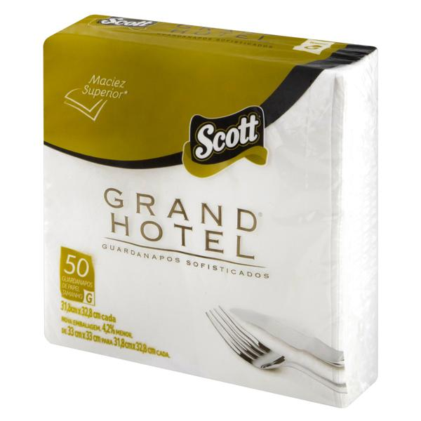 Guardanapo de Papel Folha Dupla Scott Grand Hotel 31,8cm x 32,8cm Pacote 50 Unidades