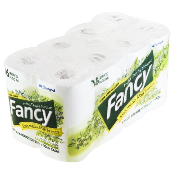 Papel Higiênico Folha Dupla Neutro Fancy 30m Pacote 16 Unidades