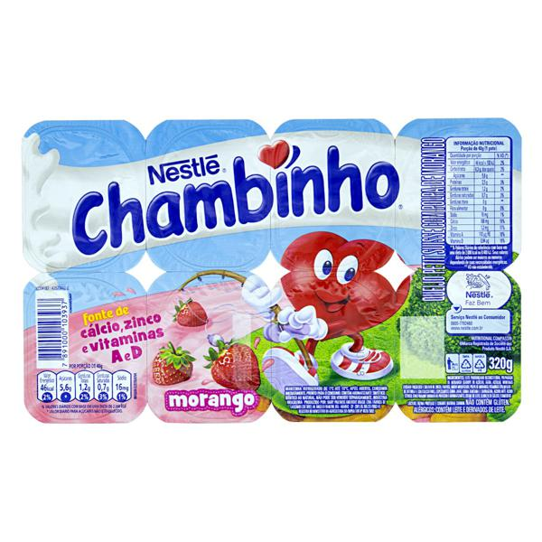 Queijo Petit Suisse Morango Nestlé Chambinho Bandeja 320g 8 Unidades