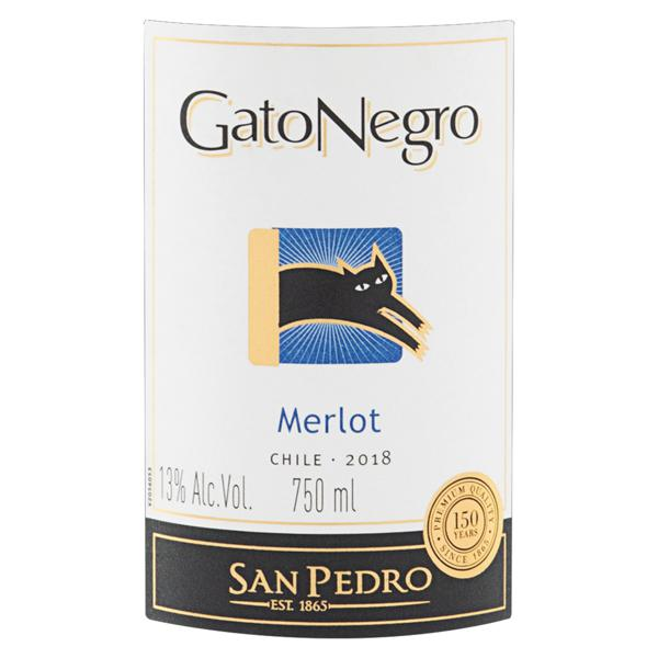 Vinho Chileno Tinto Seco Gato Negro Merlot Valle Central Garrafa 750ml