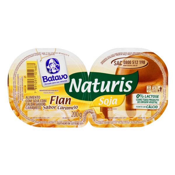 Sobremesa com Soja Flan Calda Caramelo Zero Lactose Batavo Naturis Bandeja 200g 2 Unidades