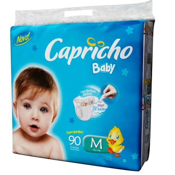 Fralda CAPRICHO BABY Super Jumbo M com 90 Unidades