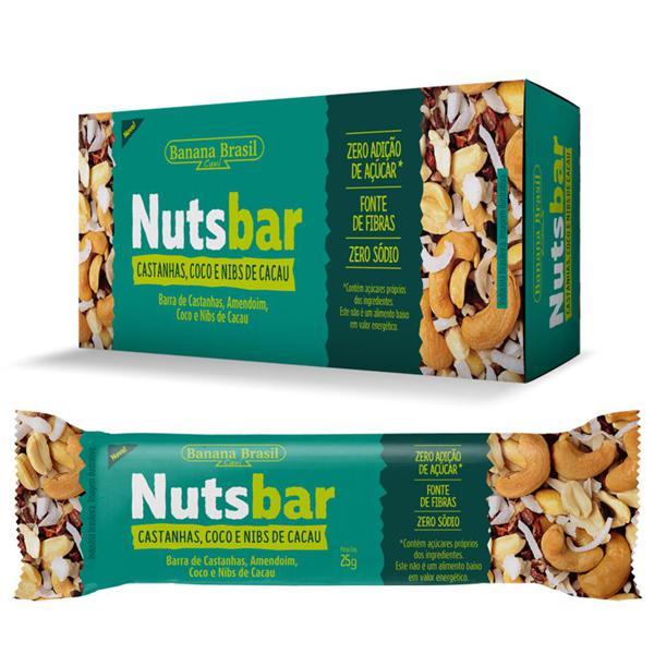 Barra De Castanhas Nuts Bar Castanha e Coco Zero Açúcar 2X25G