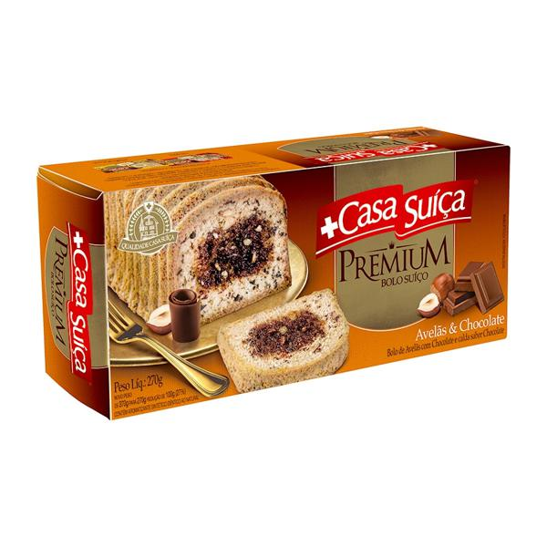 Bolo Premium Casa Suíça Avelã e Chocolate 270G