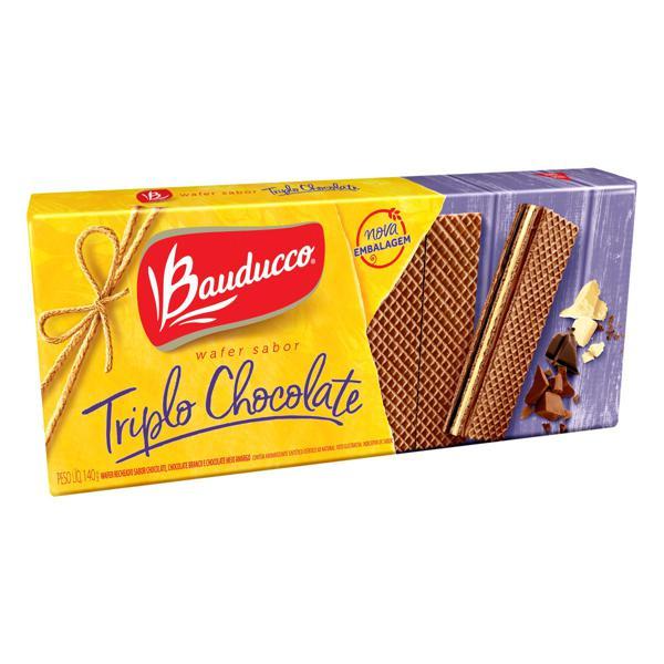 Biscoito Wafer Recheio Triplo Chocolate Bauducco Pacote 140g
