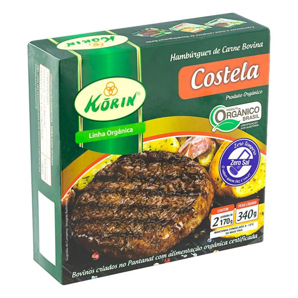 Hambúrguer de Carne Bovina Costela Orgânico KORIN 340g