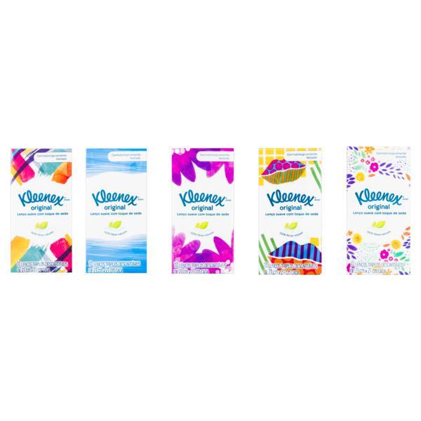 Lenço de Papel Folha Tripla Kleenex 21cm x 21cm Pacote 10 Unidades