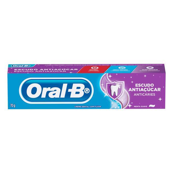 Creme Dental Menta Suave Oral-B Escudo Antiaçúcar Caixa 70g