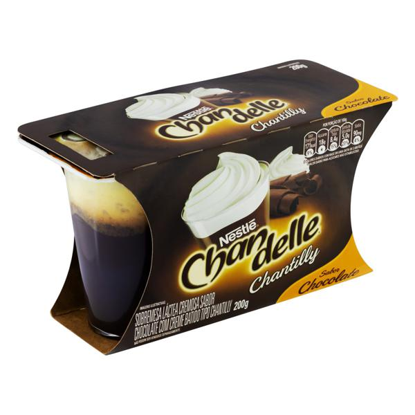 Sobremesa Láctea com Chantilly Chocolate Nestlé Chandelle Bandeja 200g 2 Unidades