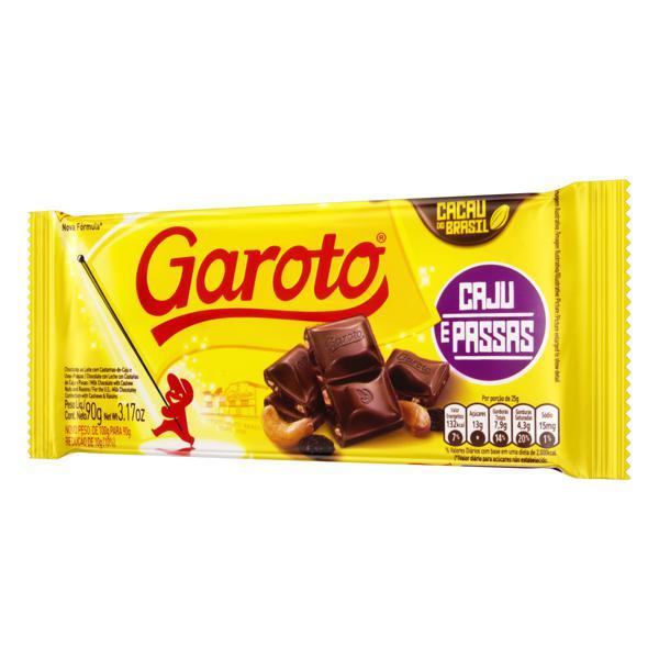 Chocolate ao Leite Caju e Passas Garoto Pacote 90g