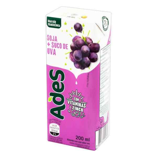 Bebida à Base de Soja Uva Ades Caixa 200ml