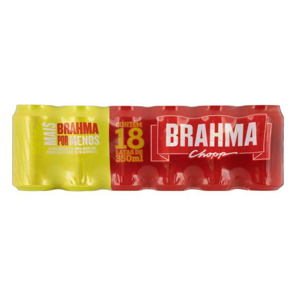 Pack Cerveja Pilsen Brahma Chopp Lata 18 Unidades 350ml Cada