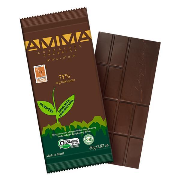 Chocolate 75% cacau 80g - Amma