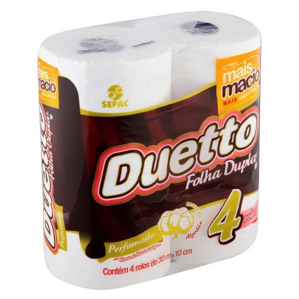 Papel Higiênico Folha Dupla Perfumado Duetto 30m Pacote 4 Unidades