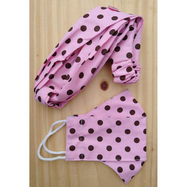 kit infantil laco e mascara rosa com bolinha marrom (formato 3D)