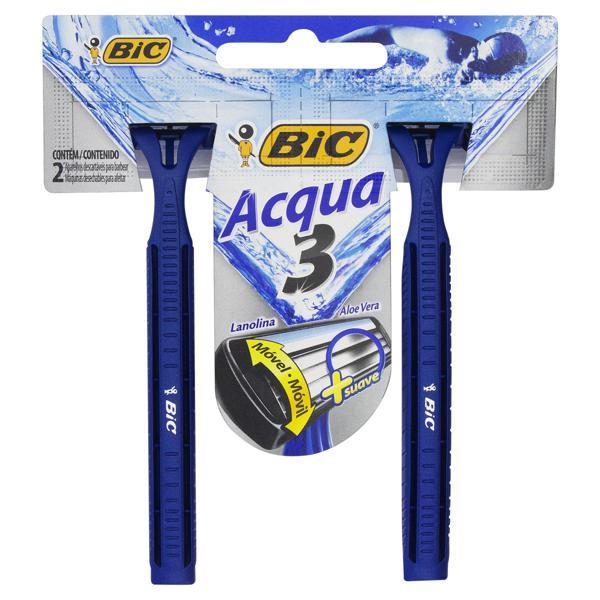 Aparelho Descartável para Barbear Bic Acqua 3 c/2 Unidades