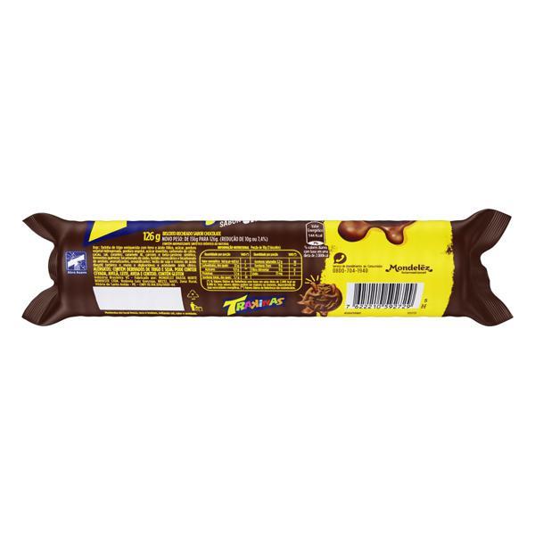 Biscoito Recheio Chocolate Trakinas Mais Recheio Pacote 126g