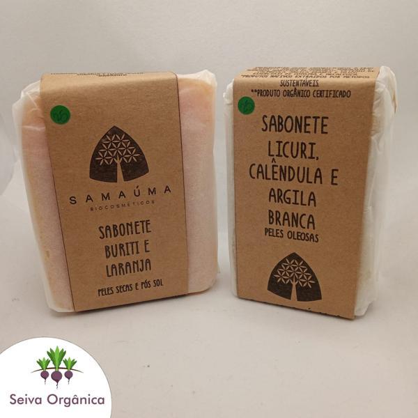 Sabonete para peles secas e pós sol de buriti, laranja e litsea Samaúma